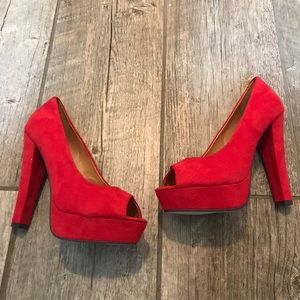 Brand new red faux suede heels